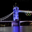 Tower Bridge and Olympic Rings - Stock Photo