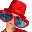 Royalty-Free Stock Photo: Boy In Red Hat And Heart Glasses Horizontal