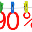 90 percent sale symbol — Stock Photo