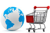 Earth with a Shopping cart — Stock Photo