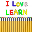I Love school with pencils — Stock Photo