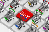 Keyboard and a shopping carts — Stockfoto