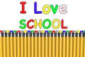 我爱学校用铅笔 — 图库照片