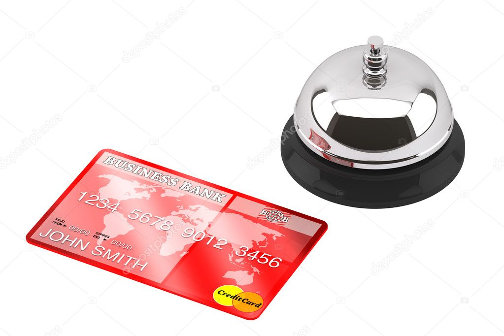 Service bell with Credit Card on a white background — Stock Photo #11413950
