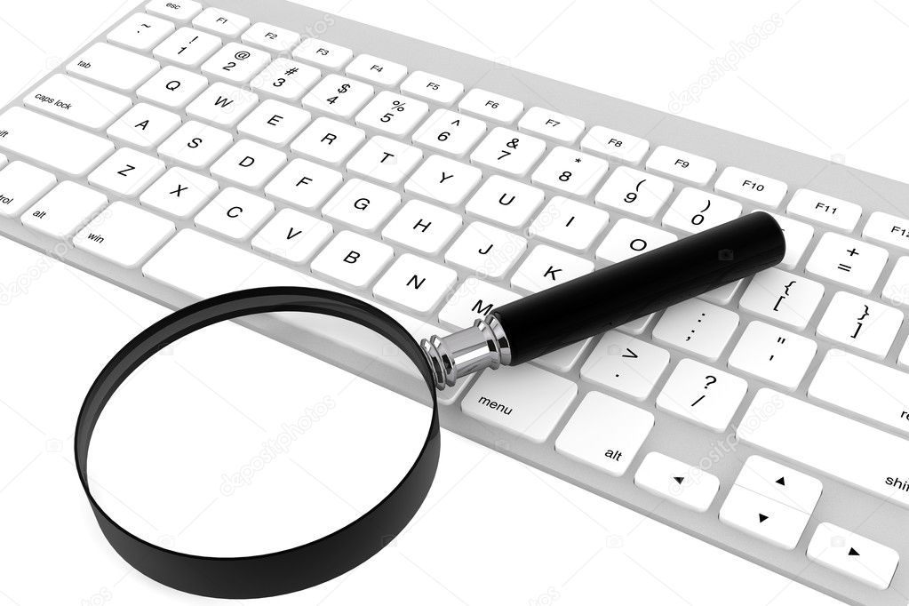 Magnifying glass with keyboard on a white background — Stock Photo #11414023
