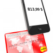 Mobile phone with Credit Card — Stock Photo