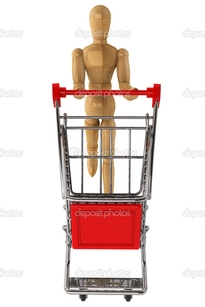 Wooden dummy with Shopping Cart on a white background — Stock Photo #11846414