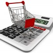 Sopping Cart with Calculator — Stock Photo
