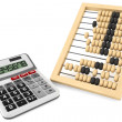 Wooden abacus and calculator — Foto Stock