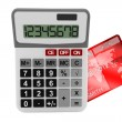 Calculator with Credit Card — Stok fotoğraf