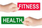Fitness y salud tráfico firmen en la mano — Foto de Stock