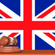 Gavel with Flag Of England — Stock Photo
