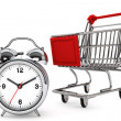 Shopping Cart with Alarm Clock — Stock Photo
