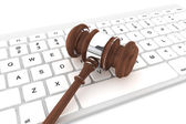 Justice Gavel and keyboard — Stock Photo