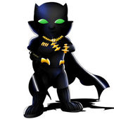 Black Panther Chibi — Stock Photo