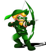 Green Arrow Chibi — Stock Photo