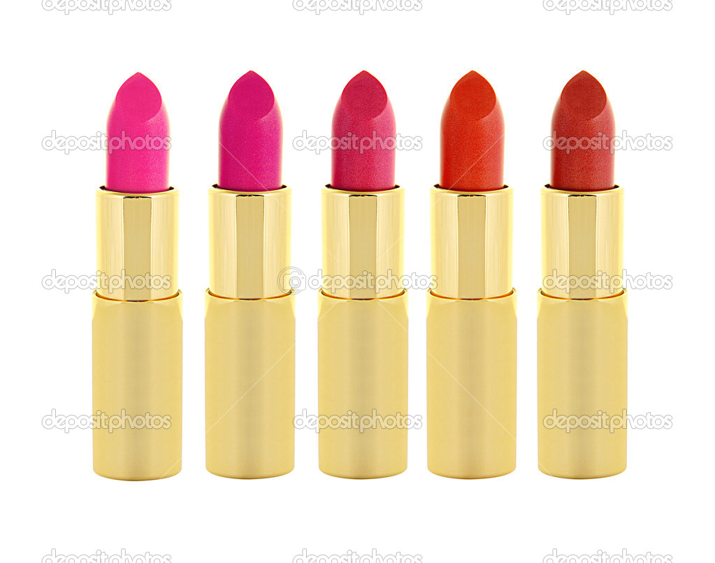 Beautiful red and pink lipsticks in golden tube isolated on white — Stock Photo #11092468