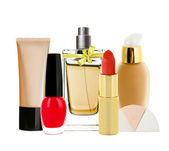 Many cosmetics isolated on white — Stock Photo