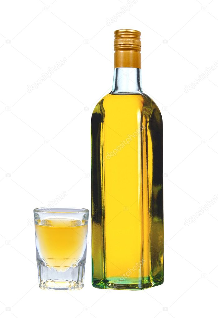 Bottle of vodka with pepper and glass isolated on white background — Stockfoto #11170846