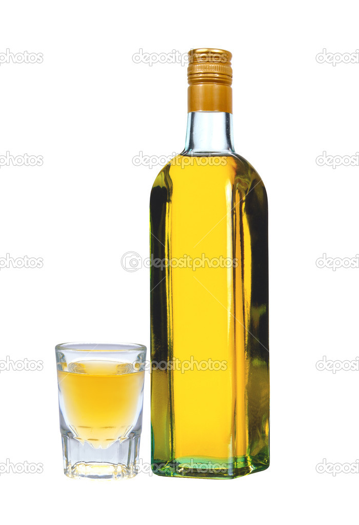 Bottle of vodka with pepper and glass isolated on white background  Zdjcie stockowe #11170846