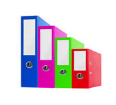 Stack of bright color office folders isolated on white — Stock Photo