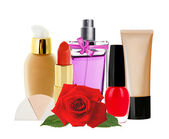 Many cosmetics and red rose isolated on white background — Stock Photo