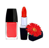 Red nail polish, lipstick and red gerbera flower on white backgr — Stock Photo