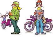 Cartoon bikers — Stock Vector