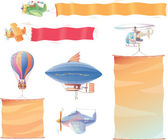Air vehicles with banners — Stock Vector