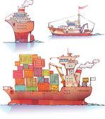 Three ships — Stock Vector