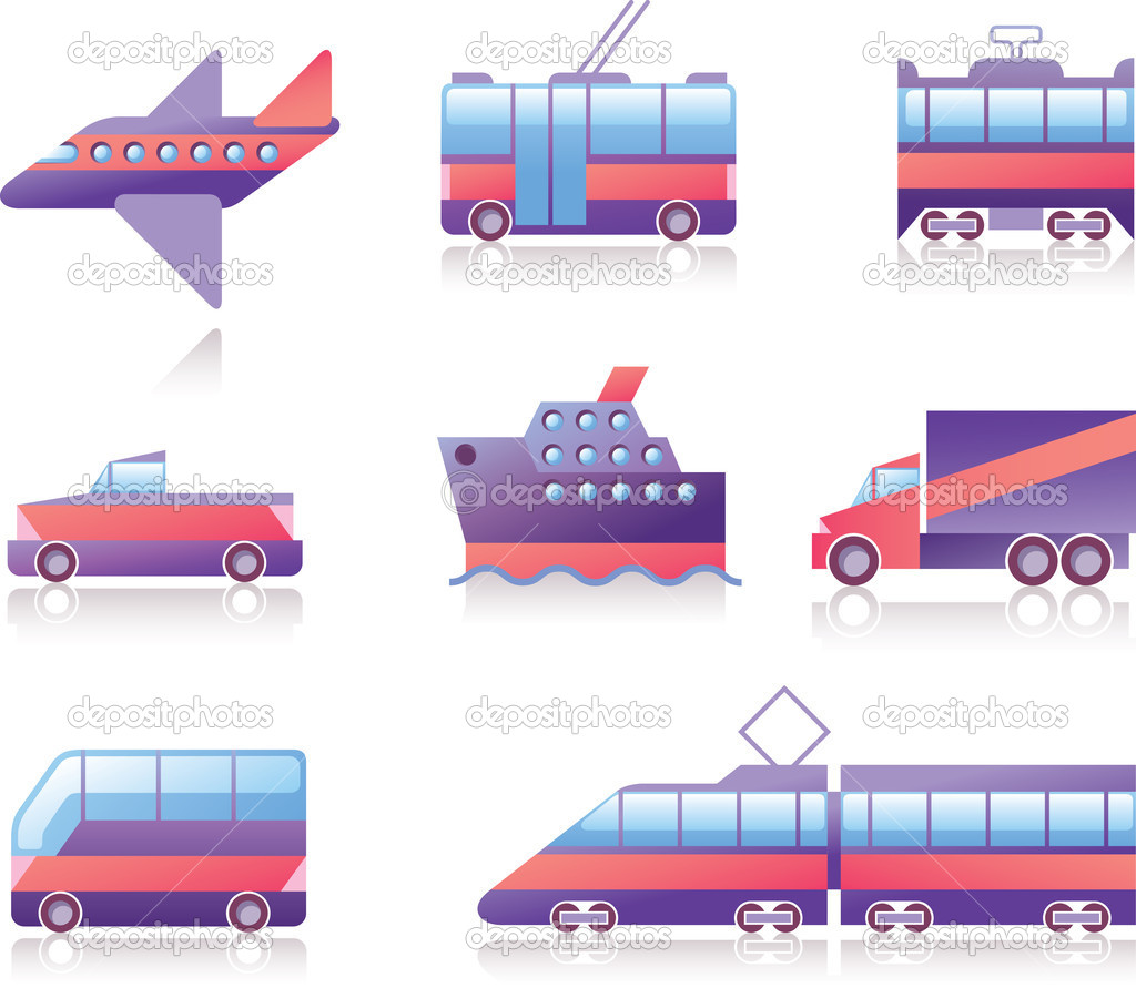 Transportation icons set: the plane, the train, the trolleybus, the tram, the car, the cruise ship, the cargo truck, the bus and the train.  Stock Vector #11441492