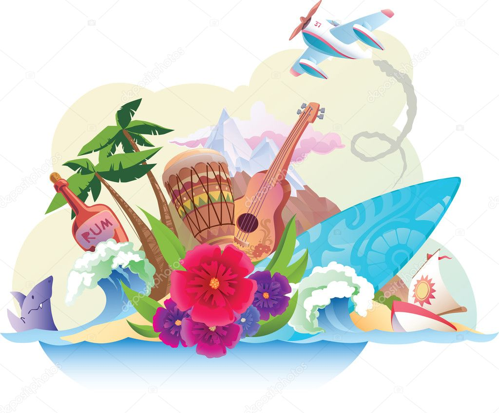 The tropical island with its music, surfing and the carefree lifestyle. — Stock Vector #11441523
