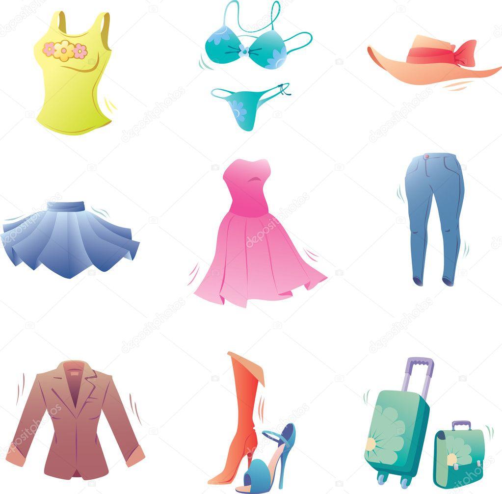 色彩丰富的插画由组成的各类时尚的衣服— 矢量图片作者 leks