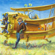 Pilot and his plane — Stock Photo