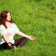 Yoga practice in the outdoors — Stock Photo