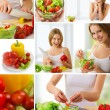 Collage. healthy food, fresh vegetables, vegetarian menu — Stock Photo