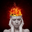 Concept, an idea. head of woman with a flame of fire — Stock Photo #11113987