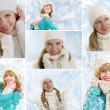 Collage. Young women on a winter background — Stockfoto