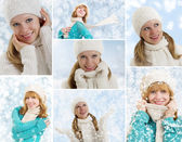 Collage. Young women on a winter background — Stock Photo