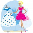 Girl picking a retro dress - Stock Vector