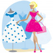 Royalty-Free Stock Vector Image: Girl picking a retro dress
