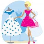 Girl picking a retro dress — Stock Vector #11327012