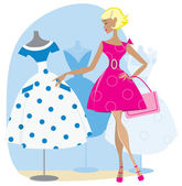 Girl picking a retro dress — Stock Vector