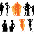 Stock Vector: Silhouettes of dieting