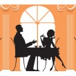 Stock Vector: At Restaurant