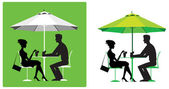 Couple at outdoor cafe — Stock Vector