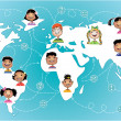 Stock Vector: Kids connected worldwide