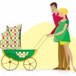 Happy Couple with Baby Stroller — Stock Vector