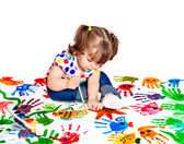 Little girl drawing a poster paints to protect the environment — Stock Photo