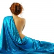 Woman in blue cloth, rear view. — Stock Photo
